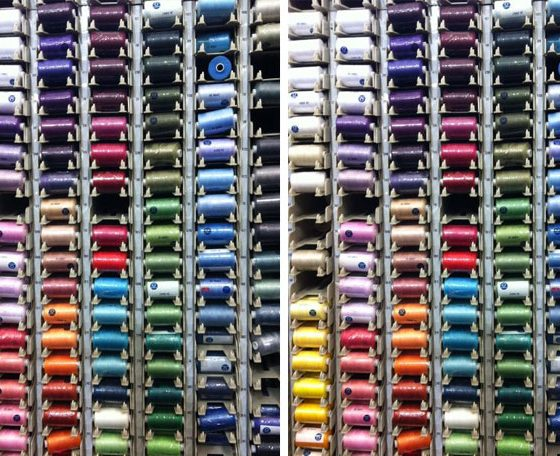 Multiple colours of thread