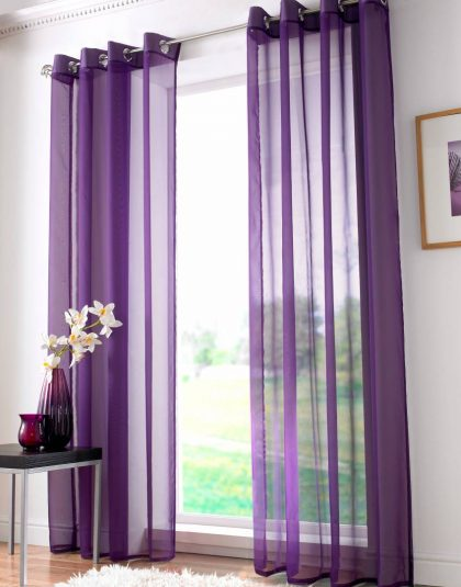 "Plain Organza ""Eyeled'' Curtain with Lead Weight"